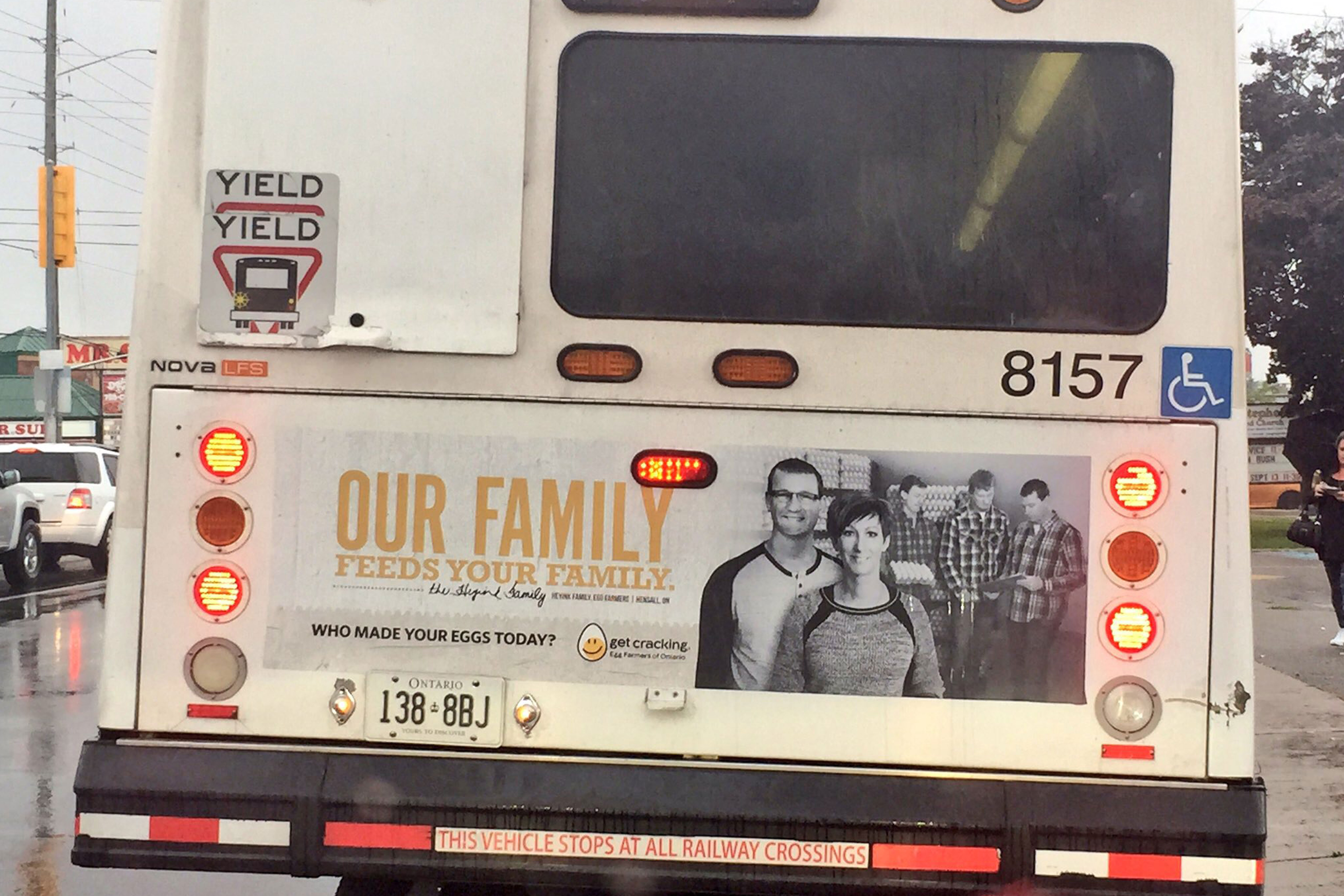 Egg Farmers of Ontario who made your eggs today bus ad