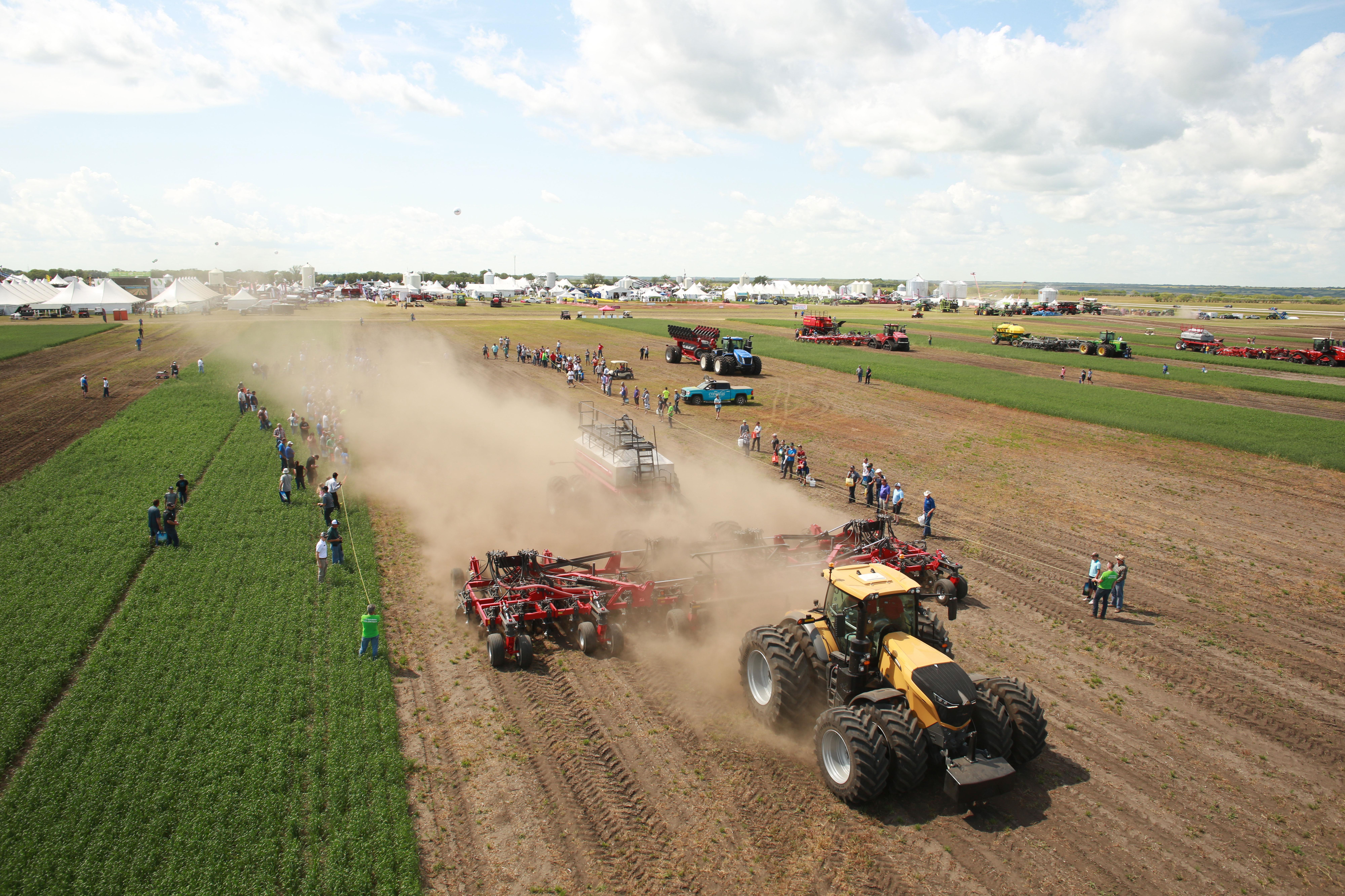 Ariel photo of tractors at farm show event